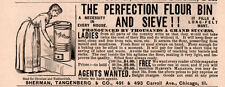 1891 A AD PERFECTION FLOUR BIN AND SIEVE SHERMAN TANGENBERG CO SIFTER