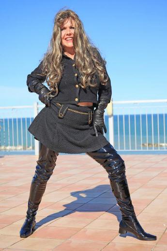 Crotch Boots, extra largo botas altas botas de charol en el estilo de años 60er negro