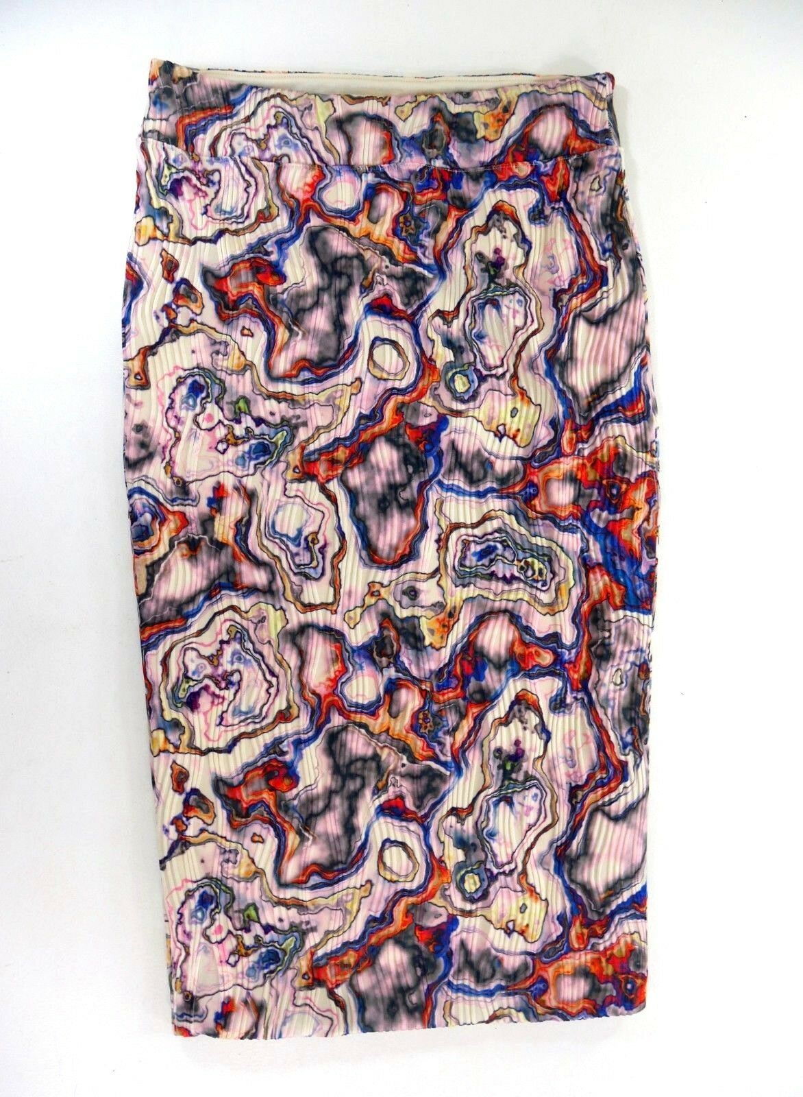 Leith  Womens Pink Multi Pastel Wavy Abalone Print Stretch Ribbed Skirt Large