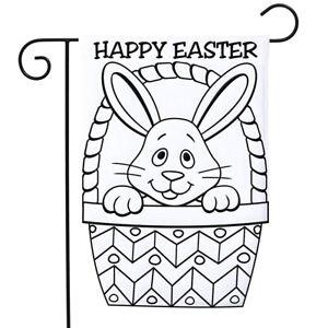 Baby-Bunny-Easter-Applique-Garden-Flag-034-Color-Me-034-Easter-Basket-12-5-034-x-18-034