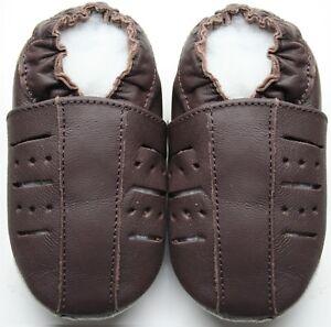 Mini-Shoezoo-Suola-Morbida-Pelle-Bambini-Pantofole-Sandali-Scarpe-Marrone-3