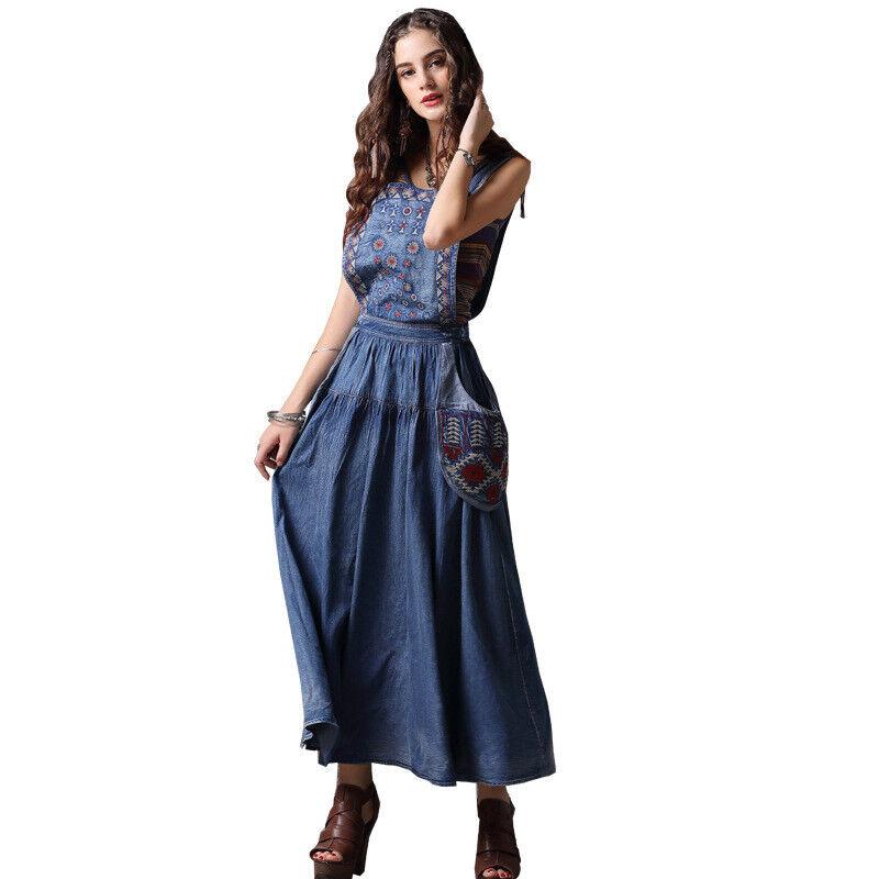 Damen Denim-Kleid Langes Jeanskleid mit Trägern Trägerkleid L38