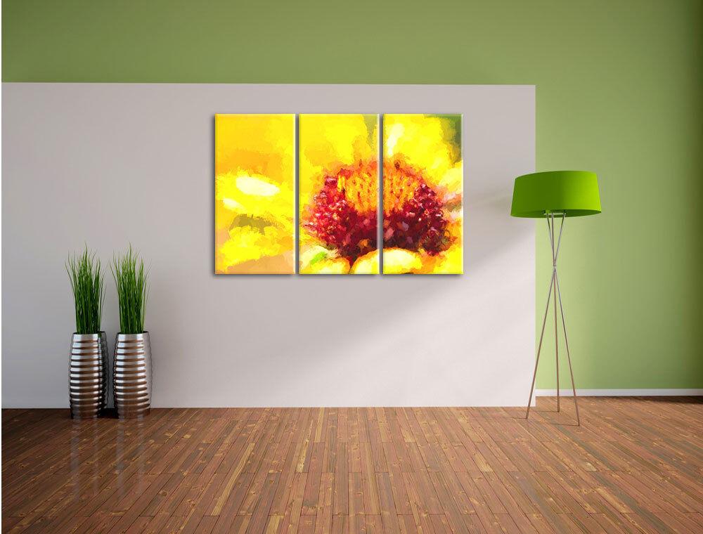 Amarilla Pintura Flor Pintura Amarilla Efecto 3-Teiler Foto en Lienzo Decoración de Pared 56cd27