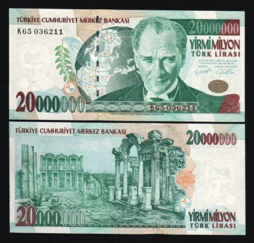TURKEY 20000000 LIRA P215 1970 2000 MILLION GLOBE UNC 20,000,000 MILLENNIUM NOTE