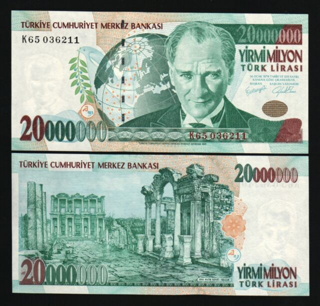 TURKEY 20000000 LIRA P215 1970 2000 MILLION GLOBE UNC 20,000,000 MILLENNIUM NOTE