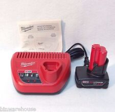 NEW Milwaukee 48-59-2401 M12 12V Li-Ion Battery Charger & 48-11-2440 4.0Ah Bat
