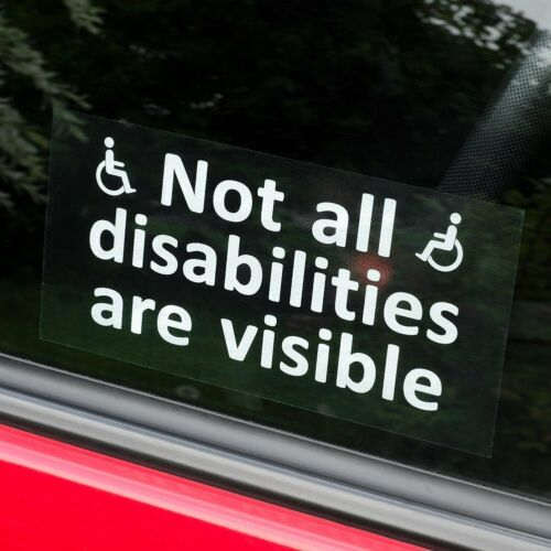 NOT ALL DISABILITIES ARE VISIBLE 10 x Disabled person sign For car window