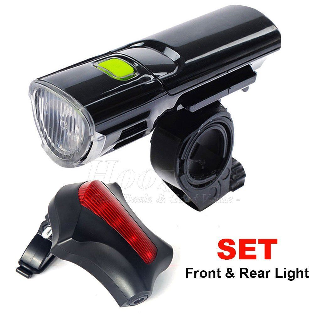 MTB Road Bike Bicycle Cycling Head Front Lights w// 2 Laser Rear Tail Lamps Set