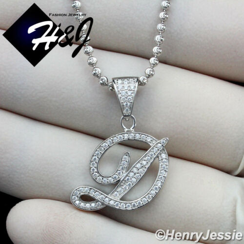 """18-30/""""MEN 925 STERLING SILVER 2MM MOON CUT BEAD CHAIN ICED LETTER/""""D/"""" PENDANT*175"""