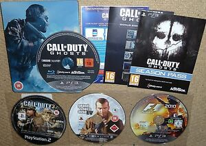 JOB LOT 4 SONY PS3 GAMES CoD Ghost Call Duty 3 Grand Theft Auto 4 GTa IV F1 2010