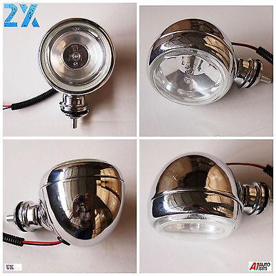 Pair of 2 Metal Chrome Vintage Bike Retro Headlight Front Fog Light Head Lamp