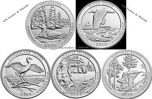 2018 PORD Prägeanstalten 5 US National Parks Quarter Dollar Münzen Jahr Set