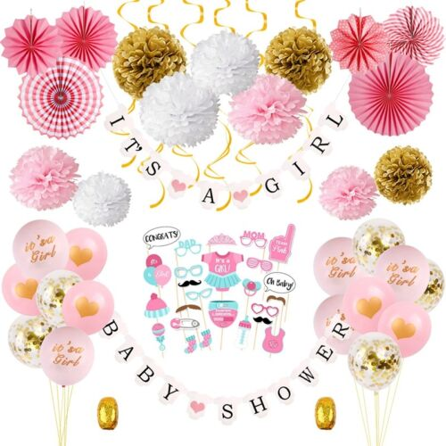 64Pcs//Lot Baby Shower Party Supply Hanging Decorations It/'s a Girl Banner Set