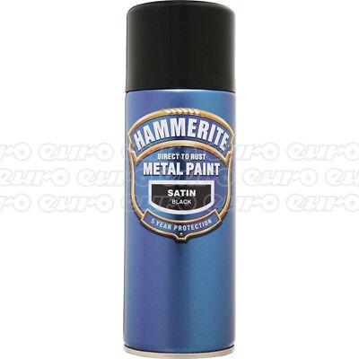 Hammerite Smoothrite 400ml Satin Black - Aerosol Spray Can