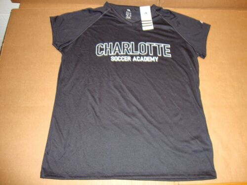Adidas Charlotte Scoccer Black Climalite Womens Short Sleeve V-Neck Tee Shirt