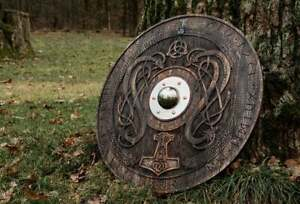 Viking shield with carved Norse Runic ornaments Medieval shield Celtic ornament