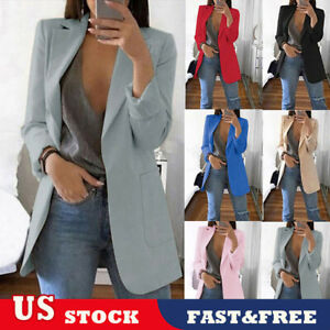 US-Women-Slim-Casual-Blazer-Jacket-Top-Outwear-OL-Jacket-Career-Formal-Long-Coat