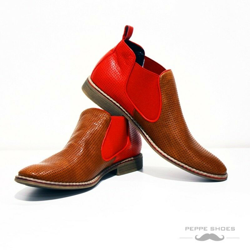 eef0c027ef4716 Modello Macerata - - - Handmade Farbeful Italian Leather schuhe Chelsea  Stiefel rot 314630