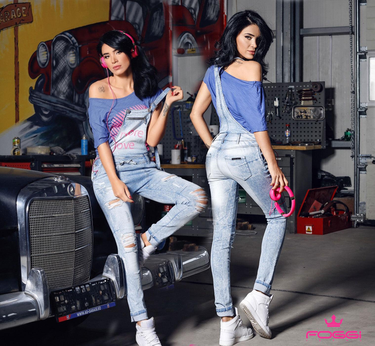 Foggi Bib Jeans Shrots Jeans damen Jeans röhenjeans Boyfriend Jeans Hose Blau XS-M