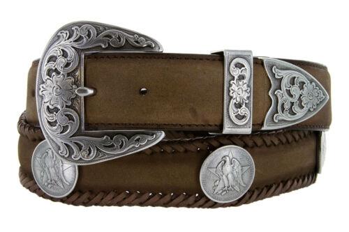 "Large 1-1//2/"" Homme Texas Centennial eagle coin Concho Cuir Cowboy Ceinture"