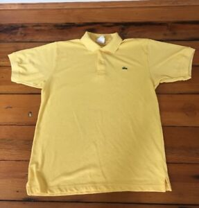 los angeles excellent quality good service Details about Vintage Lacoste Made in France Yellow Short Sleeve Collared  Polo T Shirt M-L 41