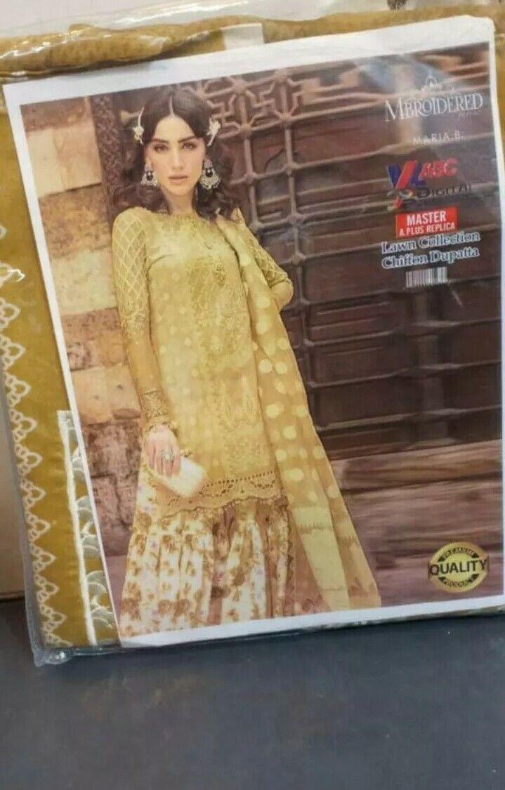 Pakistani Designer Suits Unstitched SALE Maria B Lawn Embroidered Suit