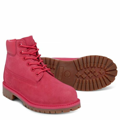 """PS Timberland Youth/'s 6/"""" Premium Boots NEW AUTHENTIC Pink Red Rose TB0A1J8M"""