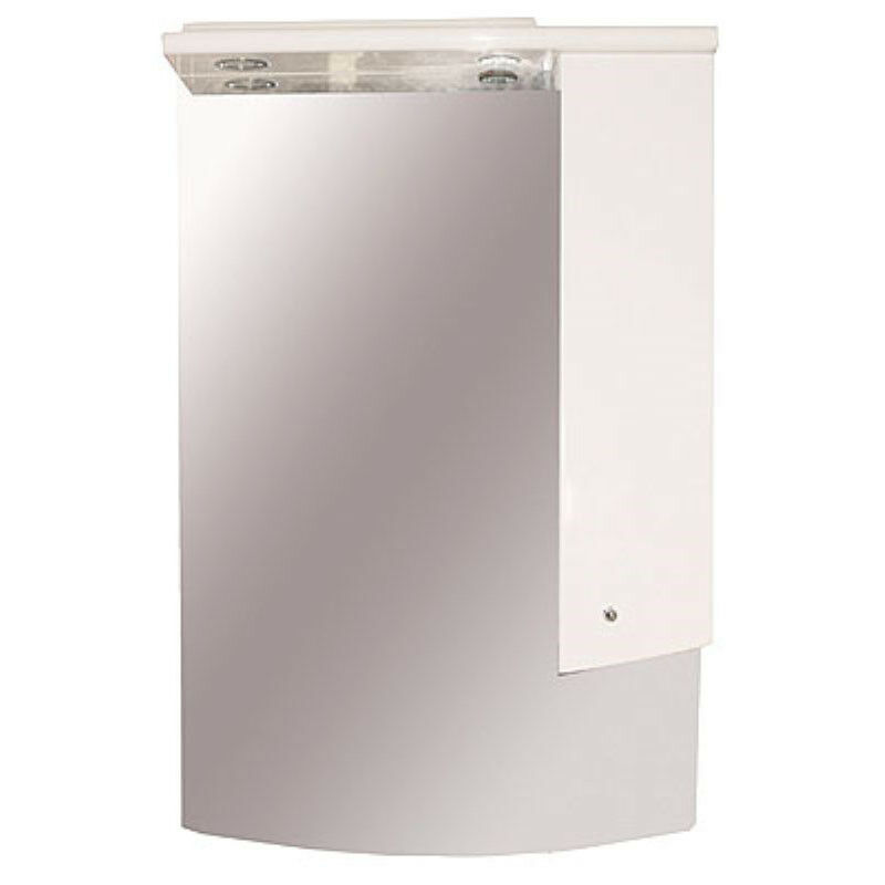 CG Bathroom W850mm Wall Jupe Vanity Mirror Weiß Cupboard Unit with Light Pelmet