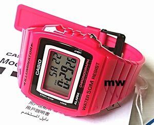 CASIO-W215H-4A-DIGITAL-SPORTS-Men-Ladies-Teens-Quartz-Watch-50M-Alarm-Pink-Resin