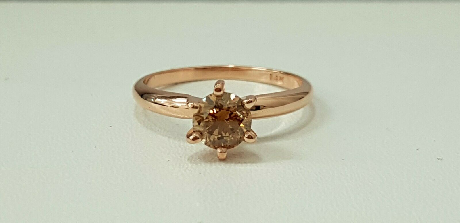 0.73ct ROUND CUT solitaire diamond engagement Ring 14K pink gold FANCY COLOR VS2