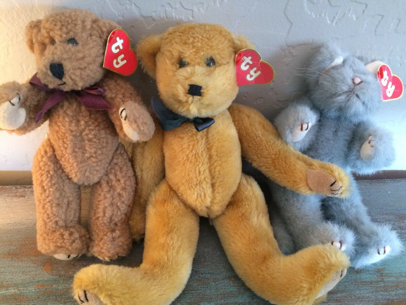 3 Rare 1st Gen TY Attic Treasures Clifford, Whiskers, Dexter