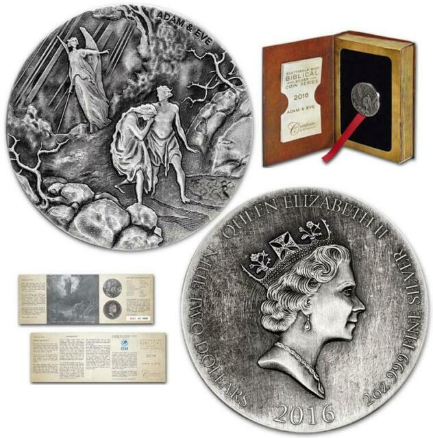 Creation Adam and Eve 2 oz .999 silver coin Biblical series, Bible Story 2016