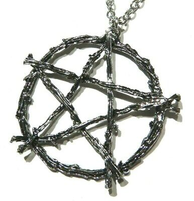 """PENTAGRAM/_Pendant on 20/"""" Chain Necklace/_Wiccan Pagan Pentacle Witch Silver/_224N"""