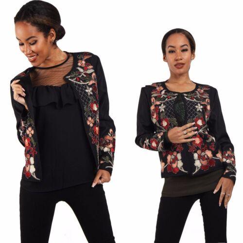 Bomber Fashion ricamato ricamato Uk da floreale Winter rosso nero donna RRZqrWUwB
