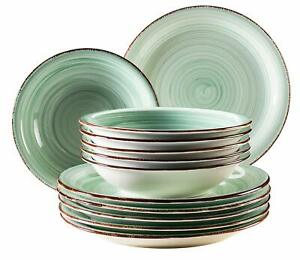 Domestic-by-Maser-Series-Bel-Tempo-Tableware-12-Parts-6-People-Porcelain-Green