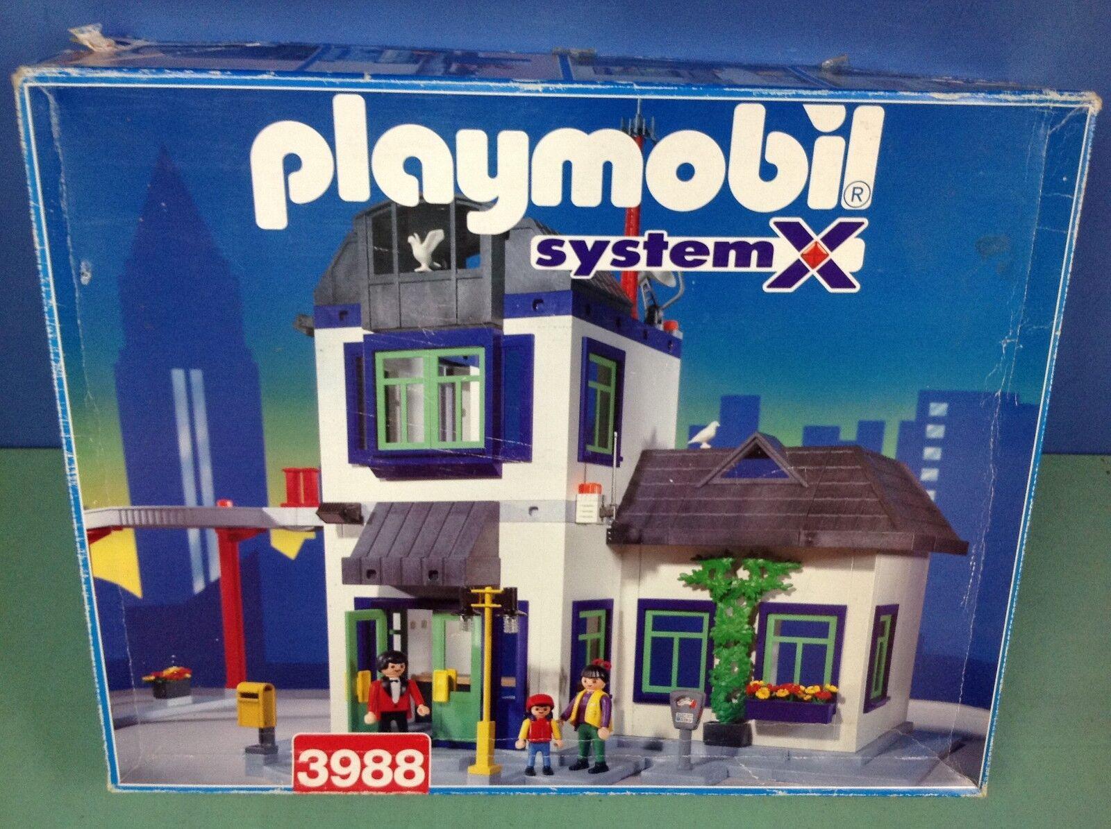 (O3988) playmobil maison de ville transformable caserne police boite ref 3988