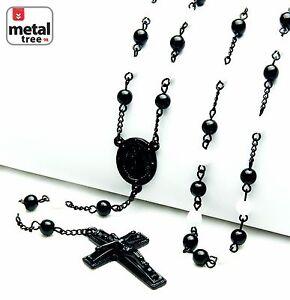 Men-039-s-6mm-Black-White-Bead-Guadalupe-Jesus-Cross-28-034-Rosary-Necklace-HR-600-KKWH