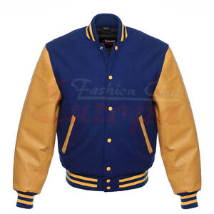 Genuine Leather Sleeve Letterman College Varsity Men Wool Jacket XS-4XL