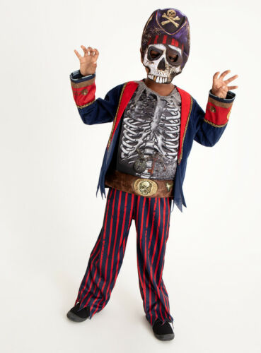Halloween Boys Ghostly Pirate Skeleton Fancy Dress Dressing up Costume H18