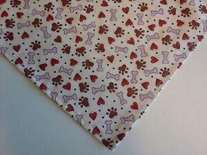 Dog-Bandana-Scarf-Paw-Prints-Hearts-Bones-Custom-made-by-Linda-XS-S-M-L