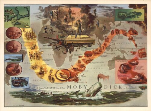 1956 PICTORIAL map Voyage of the Pequod Moby Dick by Herman Melville POSTER 8962