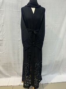 "Latest Design Ladies Dubai Abaya Size 54"" With Scarf And Black Colour Soft Nidah"