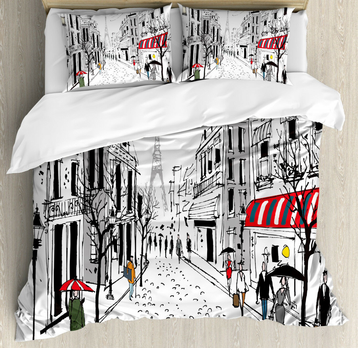 Coloreeful Duvet Cover Set with Pillow Shams Paris Eiffel Tower Print