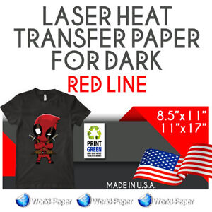 Details about Laser Dark Heat Transfer Paper Red Line 8 5x11 11x17 Soft  Touch