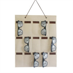 Sunglasses-Organizer-Storage-Hanging-Bag-Wall-Pockets-Key-Home-15-Slots-Felt-New