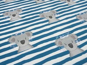 NEU Baumwolljersey 0,25 x 1,50 Koala auf mint gestreift
