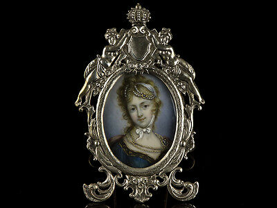 19th Century Miniature Painting Marie Antoinette Silver Frame