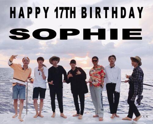 Personnalisé BTS Birthday Cake Topper A4 givrage Feuille Tout Nom Âge