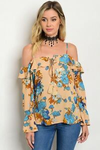 New-Boho-Cowgirl-Peasant-Floral-Cold-Shoulder-Western-Ruffle-Blouse-Top-S