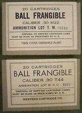 CALIBER .30 T44 / M22 BALL FRANGIBLE WW2 NEW REPLICA  20 ROUND AMMO BOX - 2 PCS